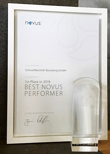 Urkunde NOVUS Best Performer 2018